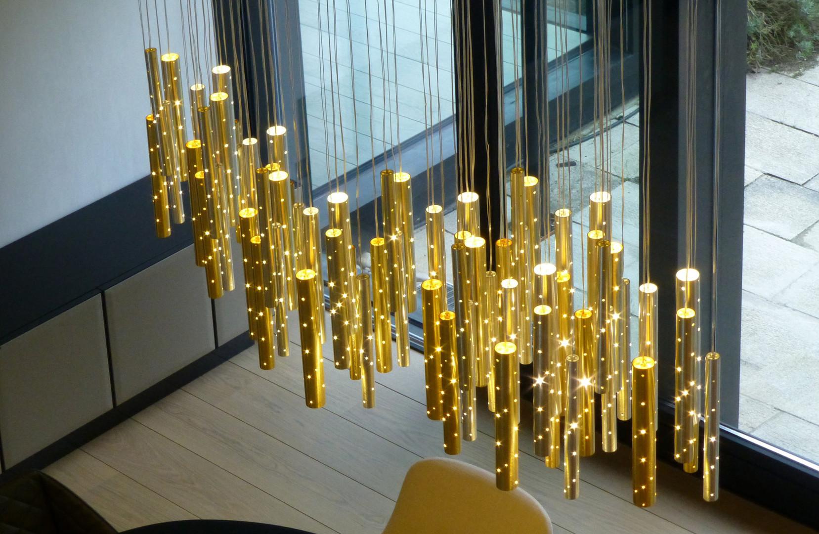 Gold Champagne Rain Pendant Chandelier