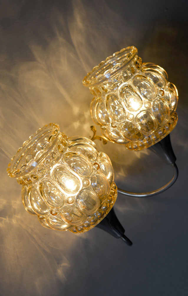 Vintage French Amber Lobed Glass Shades