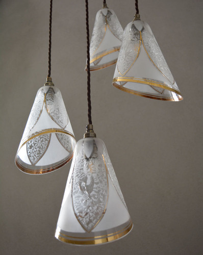 Cluster Pendant of Four Rare French Vintage Gilded Glass Shades