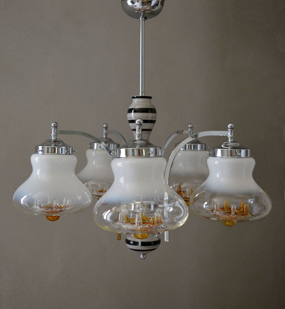 Super Vintage Murano Glass Chrome Ceramic Chandelier