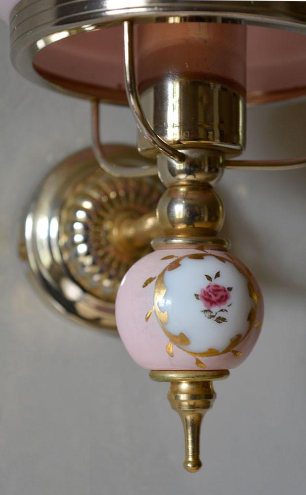 Vintage French Painted Rose Ceramic Light