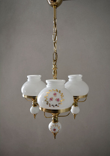 Vintage French White Glass Painted Rose Chandelier