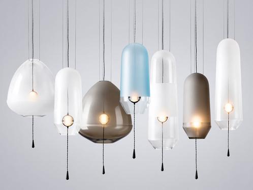 Limpid lights mouthblown glass pendant series vantot