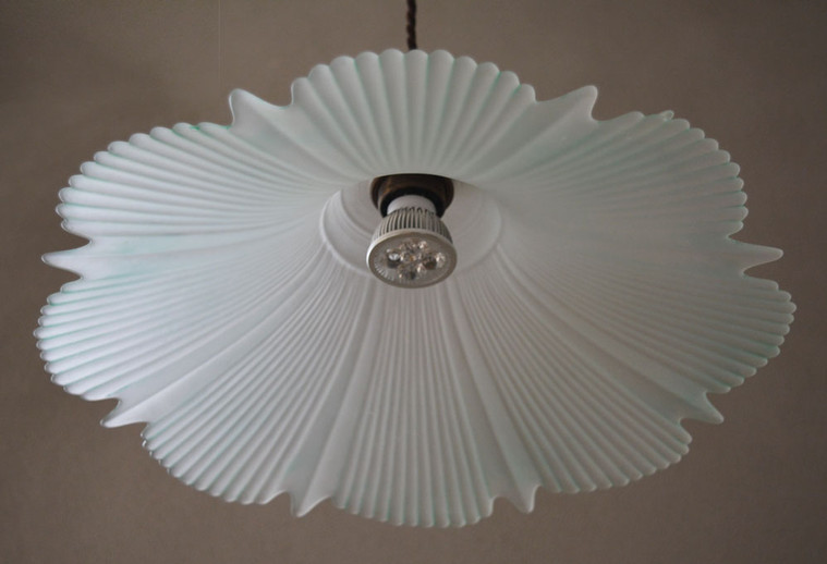 Vintage 1940s Ribbed Glass Pendant