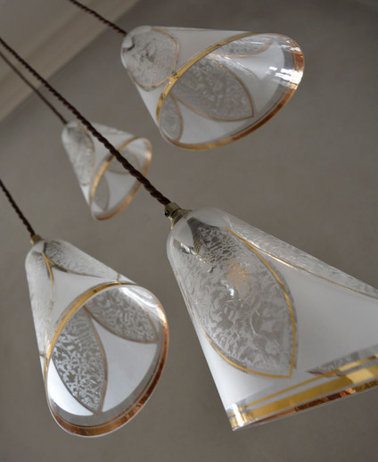 Rare French 1940s Gilded Frosted Glass Shade Pendant Cluster
