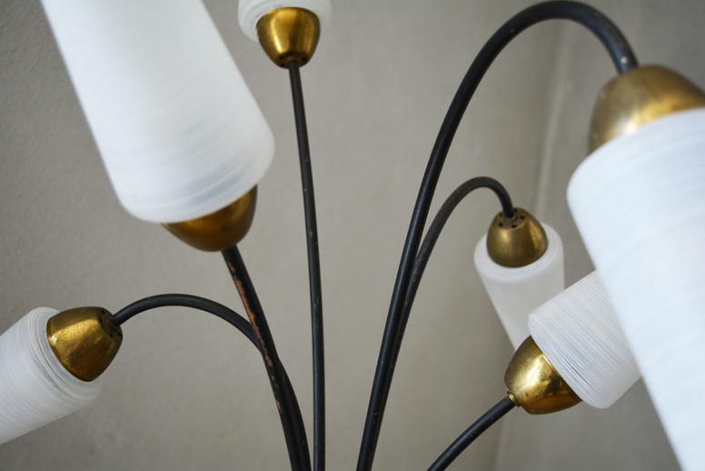 Vintage Tripod Floor Lamp 6 Opaline Glass Shades