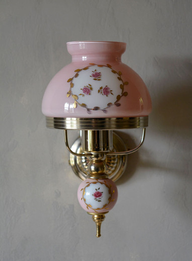 Vintage French Rose Glass Ceramic Wall Light