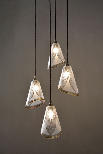Vintage French Gilded Glass Shades Cluster Pendant Lamp