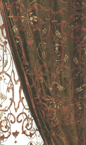 Frances Chocolate and Terracotta Velvet Curtain Panel
