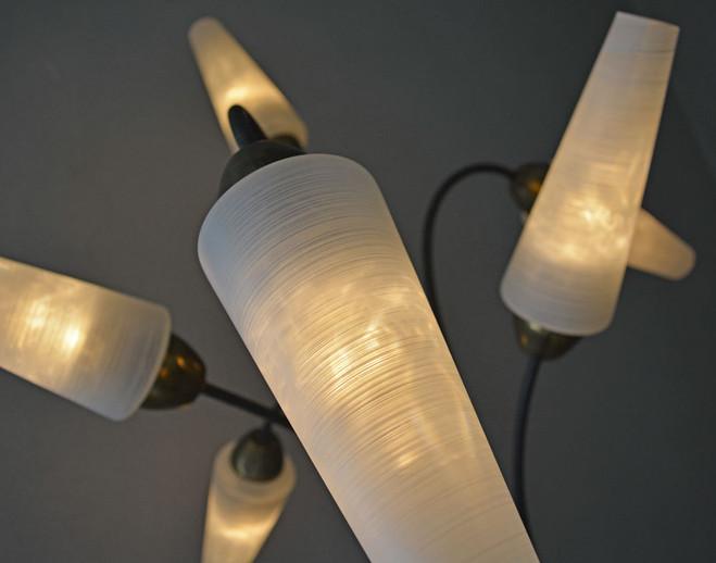 1950's Floor Lamp Opaline Glass Shades