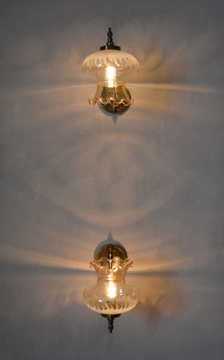 Pair of Vintage French Frosted Amber Glass Wall Lights