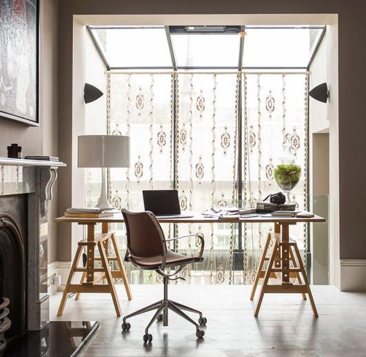 Constance Lace Window Panel in Contemporary Interior