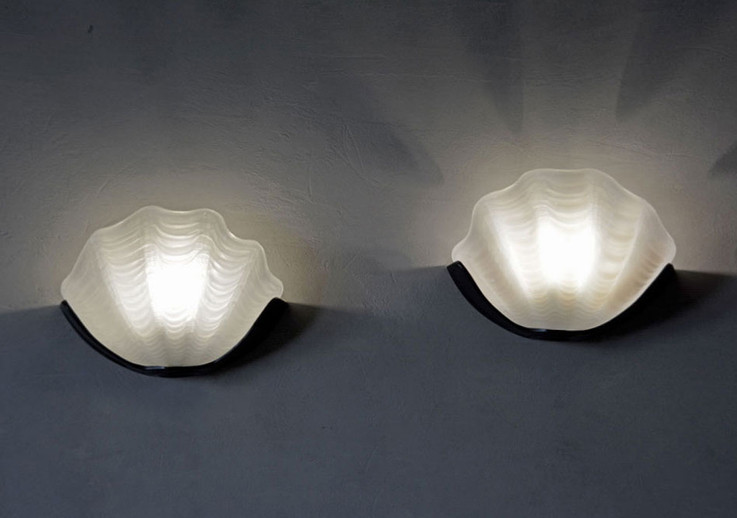 Pair of Vintage 1940s Art Deco Clam Shell Wall Lights