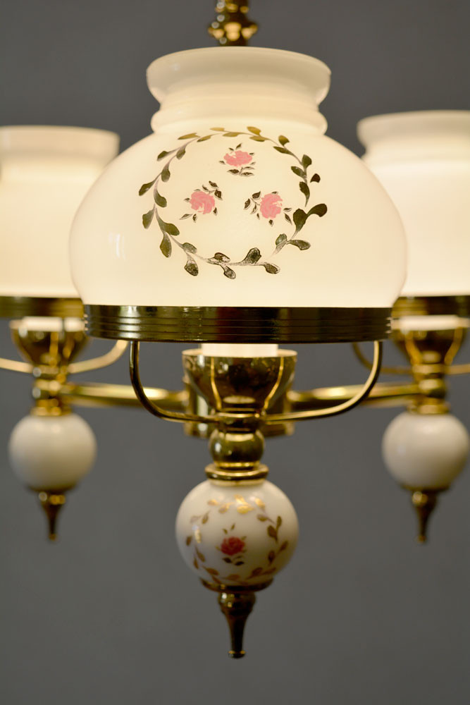 Vintage Rose Painted Opaline Glass Shade Chandelier