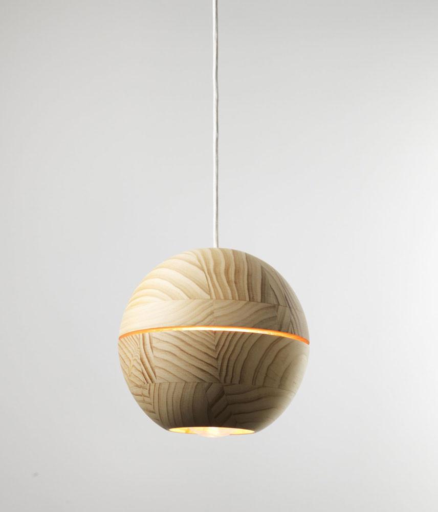 Saturn Natural Wooden Sphere Pendant Ilanel