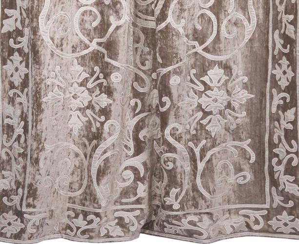 Whitehall velvet curtain panel detail