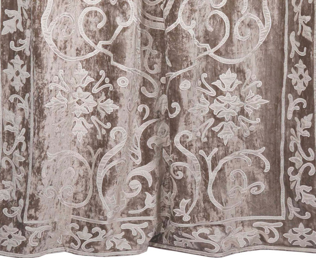 Whitehall velvet curtain panel detail