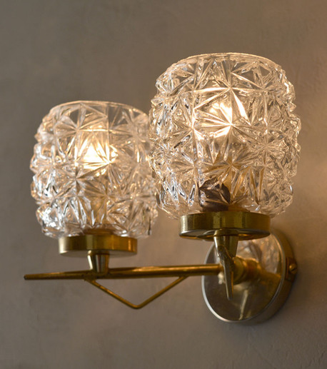 Vintage Glamour Pair of Double Glass Shade French Wall Lights