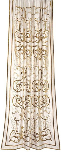 Frances Embroidered Ivory Silk Curtain Panel