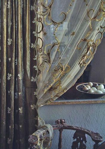 Florence sheer gold drape