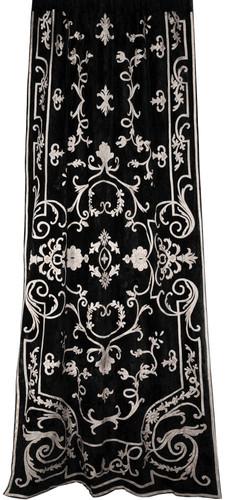 Chatsworth Embroidered Black Velvet Curtain