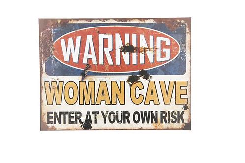 """Metalen Borden Met Spreuken """" Woman Cave"""""""