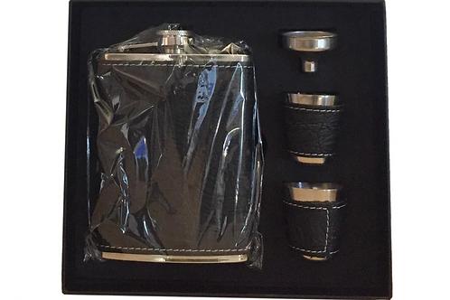 Platvink Leer Heupfles Cadeau Set Met Bekertjes Trechter Zakflacon Zakfles Drank
