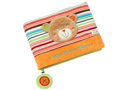 Baby-Fotoboek-Van-Stof-Teddybeer-Foto-Rammelaar-Fotoformaat-10x15-Spelen-Kijke- Ontdek-Kle