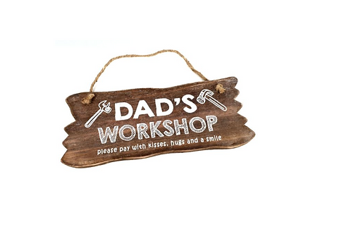 "Wandbord hout "" dad's workshop"""