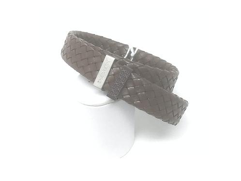 Gevlochten lederen armband in bruin met roestvrijstalen elementen