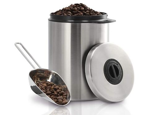 Bewaardoos koffiebonen luchtdicht 1 kilo bewaarblik RVS voorraadbus