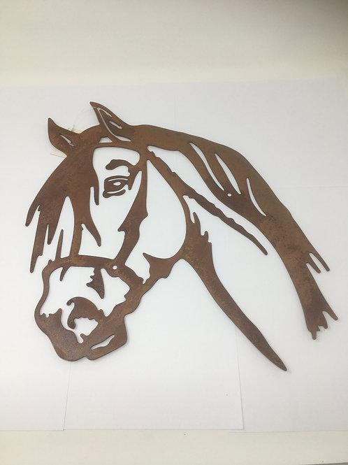 Paardenhoofd Wanddecoratie Silhouet Roestig Metaal Bruin Decoratie