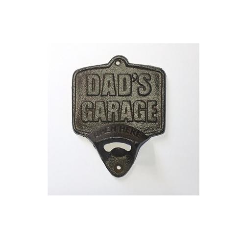 """Flesopener Tekst """"Dad's Garage"""" Gietijzer Voor Aan Muur"""