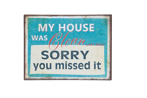 "Metalen Wandbord ""clean house"""