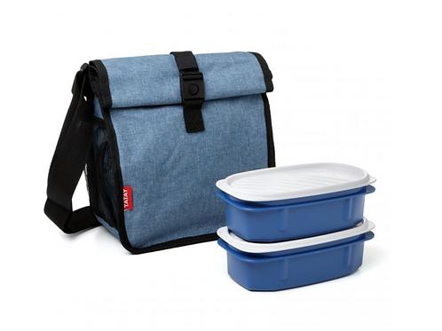 lunchtas blauw met 2 bewaarhouders