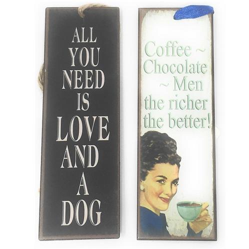 Boekenlegger Metaal Met Spreuken Hond Koffie ChocoladeTeksten Set Van 2 Cadeau