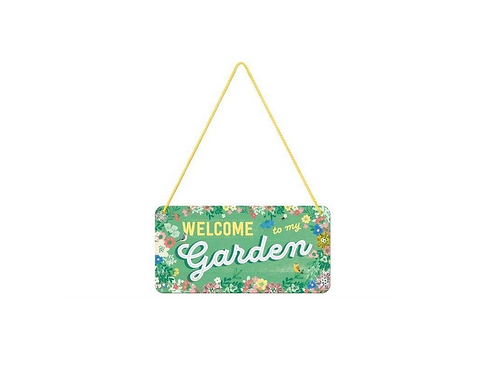 Metalen wandbord met koord Welcome Garden 10x20cm
