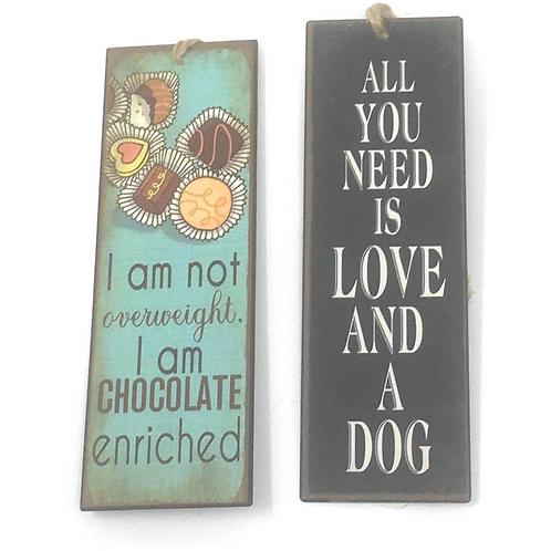 Boekenlegger Metaal Met Spreuken Hond Chocolade Teksten Set Van 2
