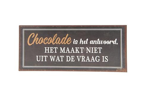 """Metalen Bord Spreuk """" Chocolade """" Vrouwen Verjaardag Cadeau"""