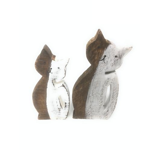 Katten Decoratie  van Hout set van 2 stuks