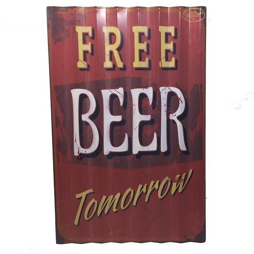 Metalen Borden Met Spreuken Bier Party Free Beer Motieven Tekst Retro Vintage
