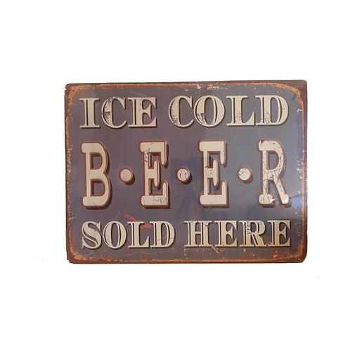 Metalen Borden Met Spreuken Ice Cold Beer Motieven Tekst Retro Vintage Man Cave