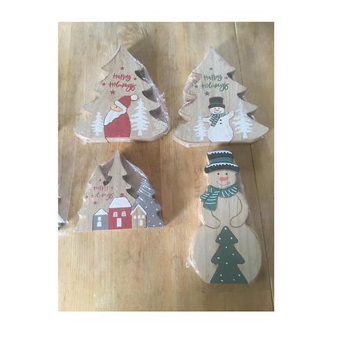 Kerst Decoratie Hout  Puzzel Kerstboom Vosje Kerstman Sneeuwman 9 stu