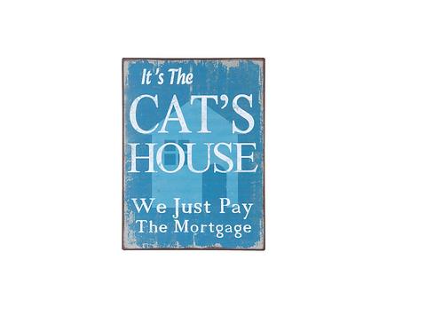 Wandbord metaal spreuk kat