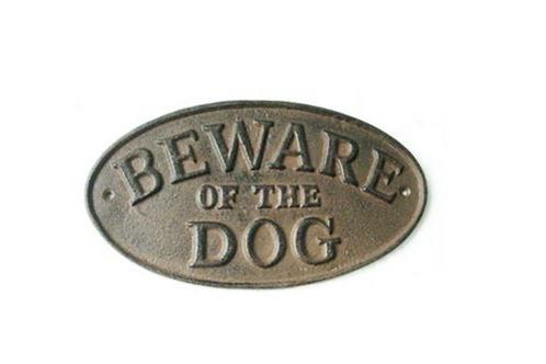 "Gietijzeren bord "" beware of the dog"""
