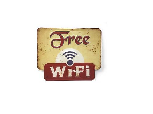 Metalen wandbord Free Wifi 25 x 30 cm