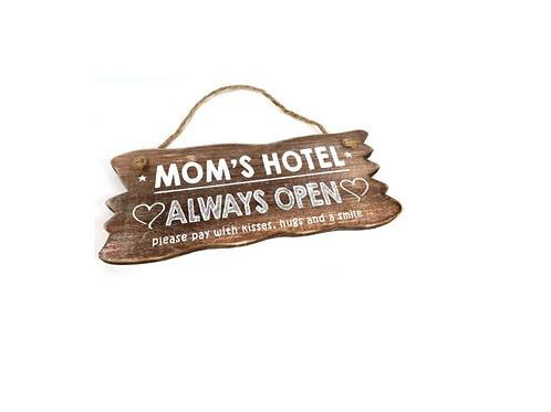 "Wandborden Hout Spreukbord ""Mom's Hotel"" Spreuken Familie Woondecoratie Cadeau"