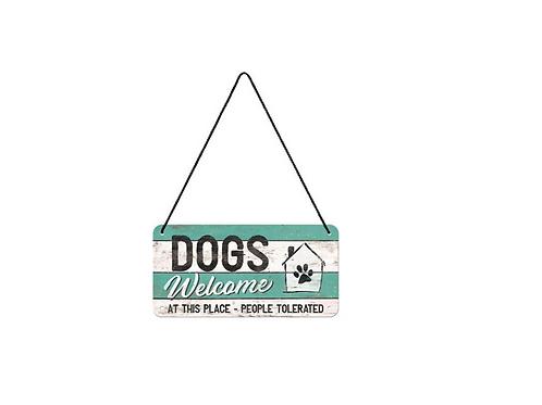 Metalen Wandbord Dogs Welcome 20 x 10 cm