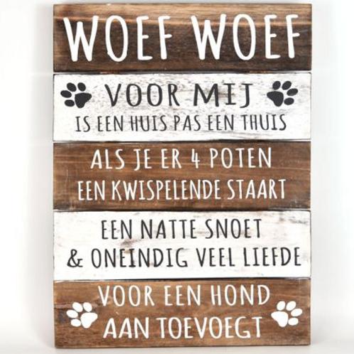 """Wandborden Hout Spreuken Honden """"Woef Woef"""" Woondecoratie Cadeau Verjaardag"""