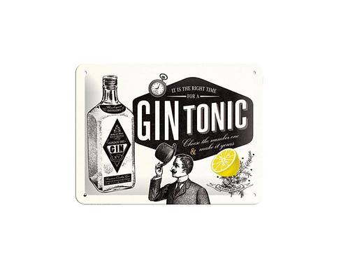 Metalen wandbord Gin Tonic 15x20 cm